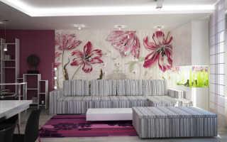 Обои с цветами для стен (58 фото): розами, крупными, в мелкий цветочек, однотонные, яркими маками в интерьере, видео