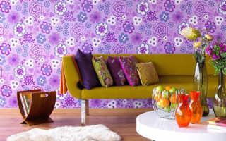 Фиолетовые обои: особенности интерьера, сочетание оттенков, подбор штор и вида обоев