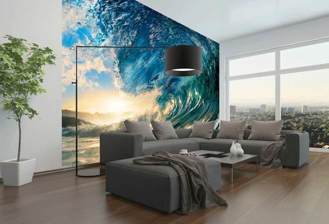 Фотообои 3Д с  огромной волной - идеальный вид для гостиной