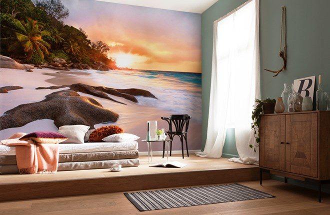 Закат на пляже в спальне - 3д фотообои