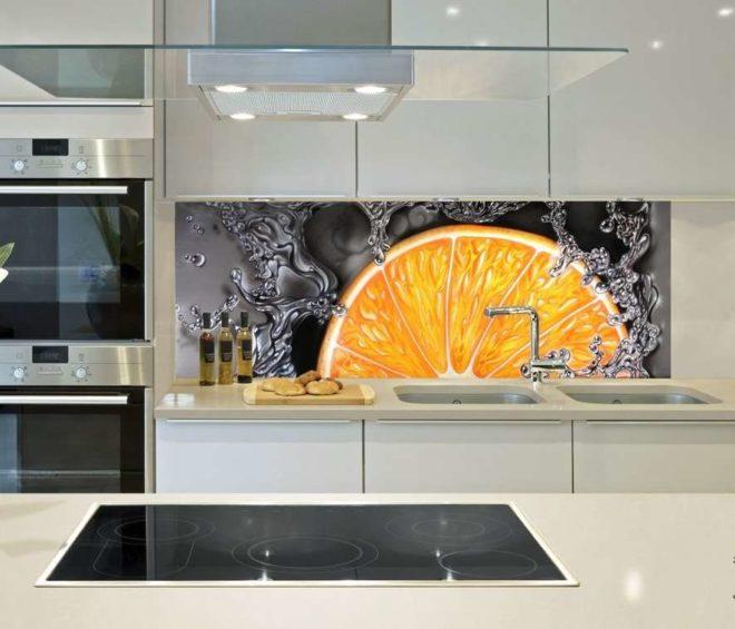 3Д фотообои на кухне оформление фартука