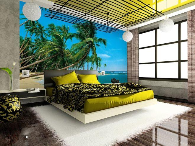 Море на 3д обоях в спальне