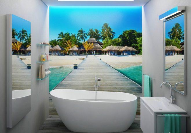 Фотообои с видом на море в ванной