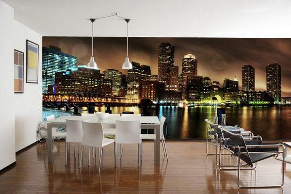Панорамные фотообои на кухне