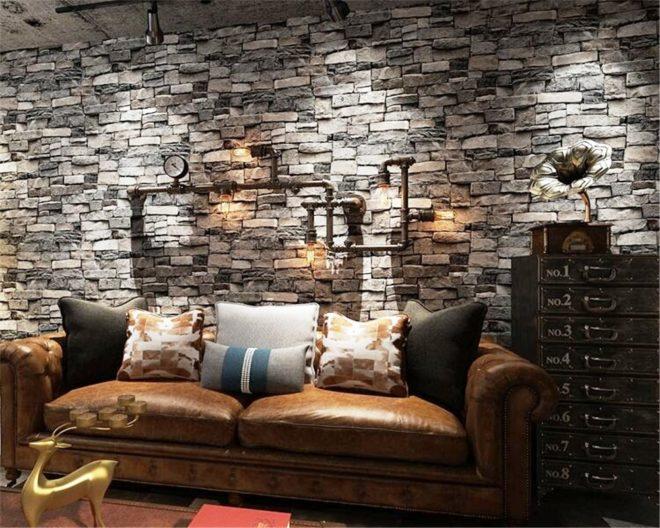 Настенные картинки, имитирующие кирпич, дерево, камень или бетон, для гостиных наиболее популярны