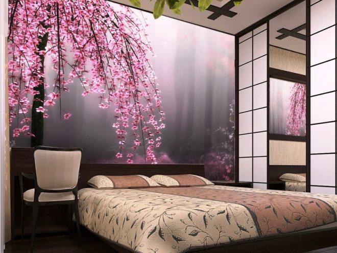 Фотообои с сакурой в японском стиле в интерьере спальни