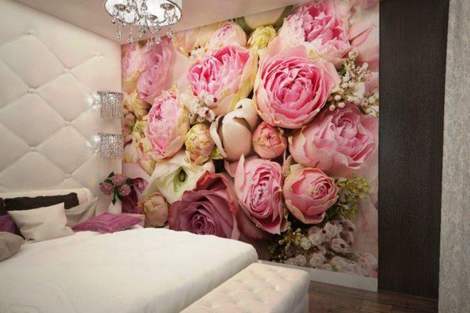 Фотообои с розовыми цветами