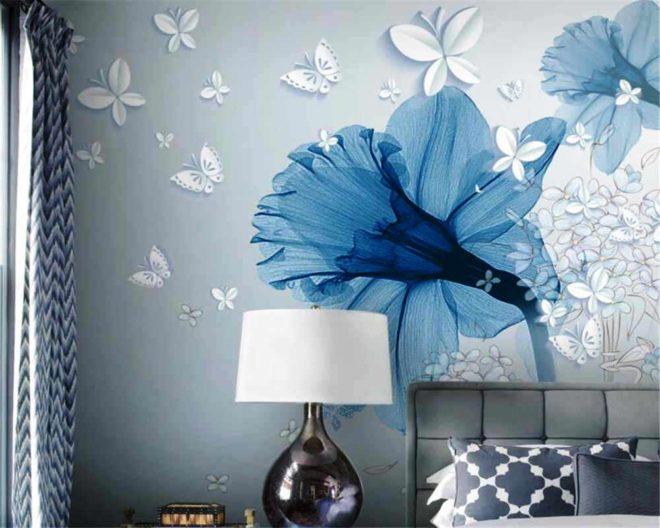 Фотообои с синими цветами